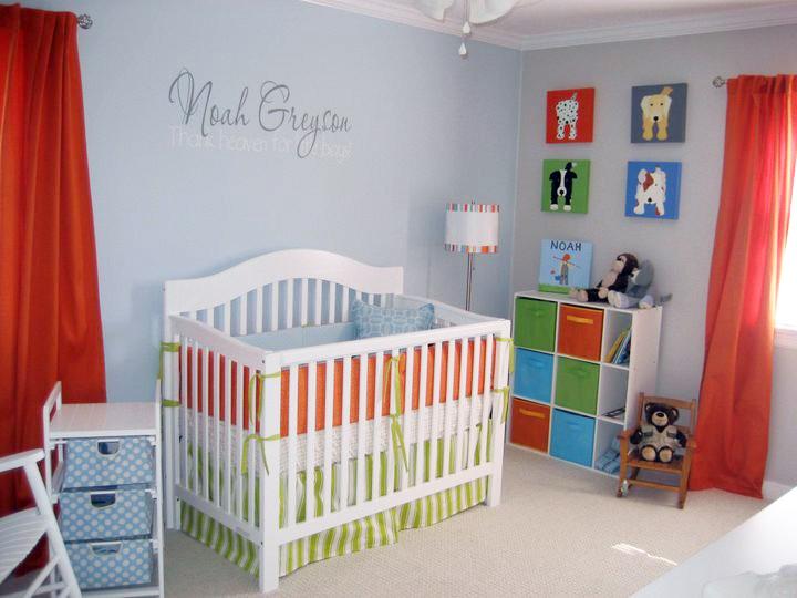 Orange-green-blue-gray-nursery-design-dog-paintings-for-web