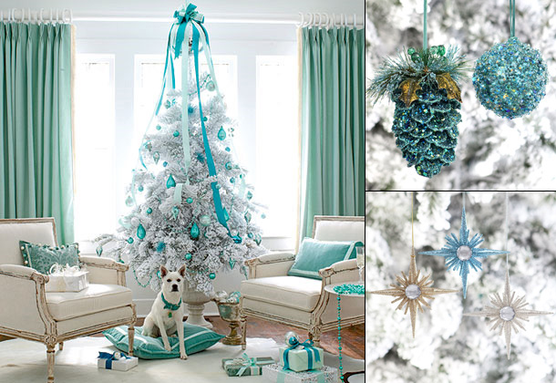 White-Christmas-tree-decorations-with-blue-ornament