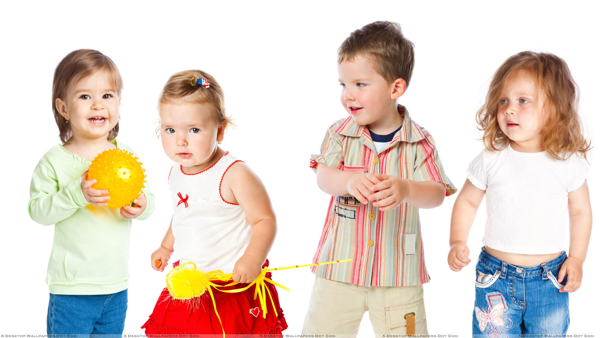 Innocent Sweet Kids And White Background