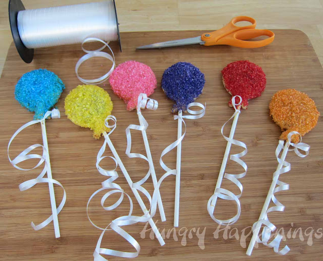 homemade poptart pops, balloons, birthday party desserts, favors, hand pies, on a stick