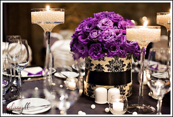 Purple-Damask-Wedding-Centerpieces