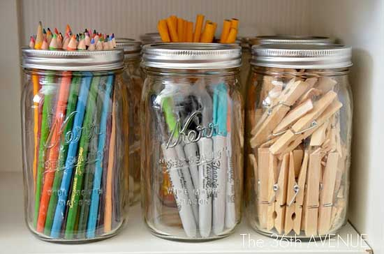 Mason-Jar-Office-Storage