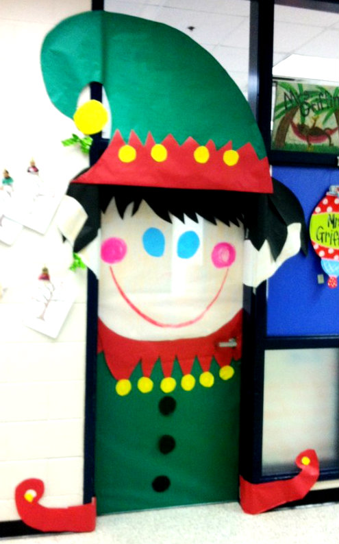 christmas classroom decorations cute for classroom door at christmas time my christmas elf decorated-f93715