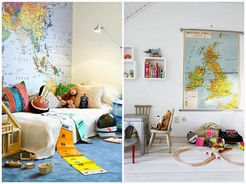 Kids room maps interior