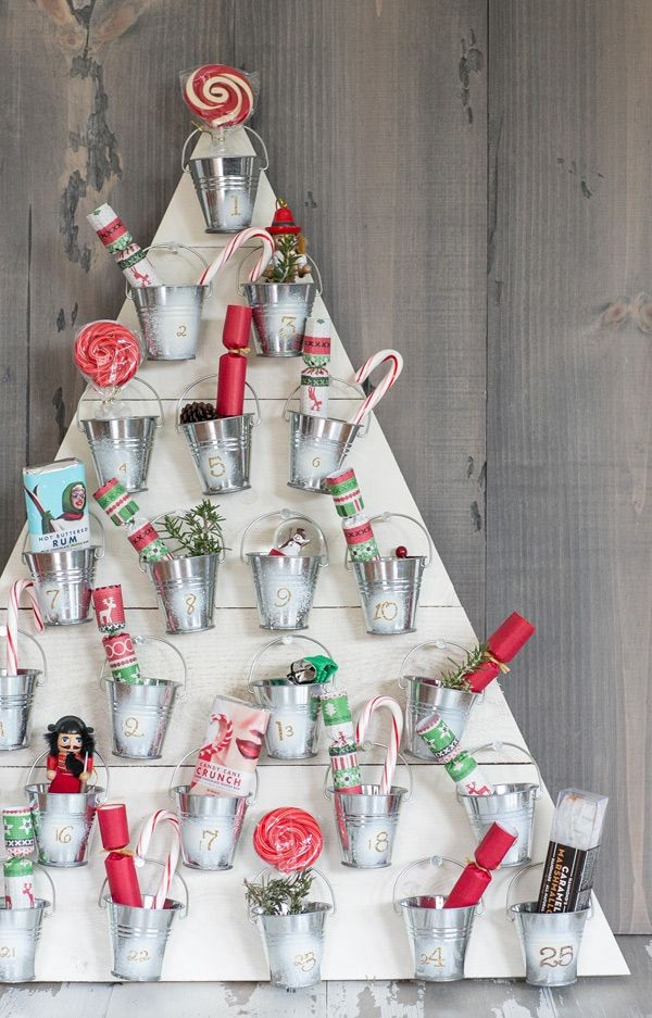 diy bucket decored wooden christmas tree advent calendar crafts - candy cane pine cone lolly twig-f88786