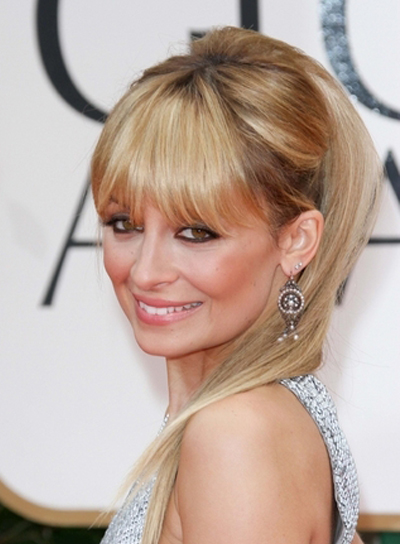 nicole-richie-straight-bangs-updo-chic-funky-party-blonde